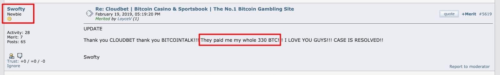 Swofty case 330BTC cloudbet payout dispute on bitcointalk