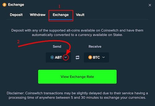 How to deposit with more than 300 crypto on stake using coinswitch integrated exchange