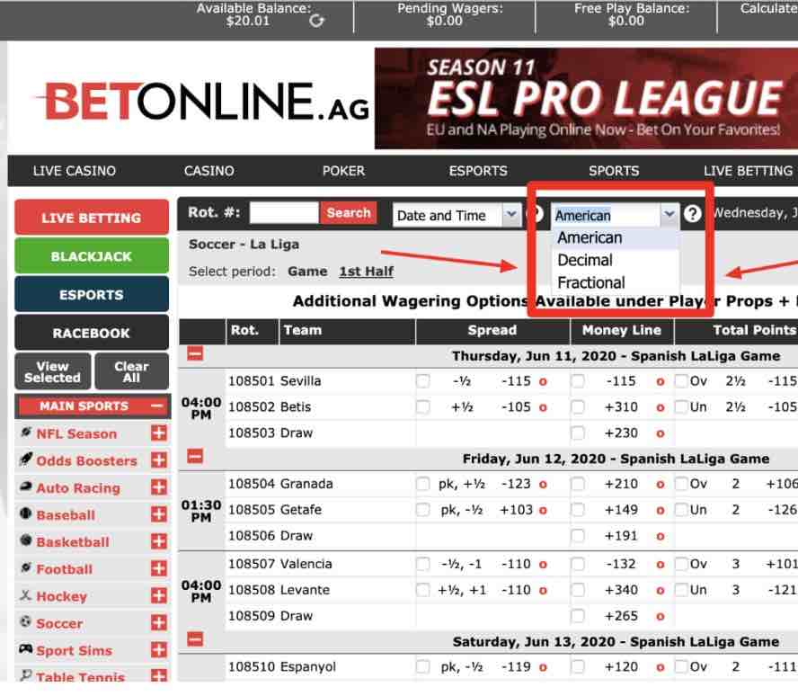 how to change odds display on betonline crypto sports betting site between american decimal fractional