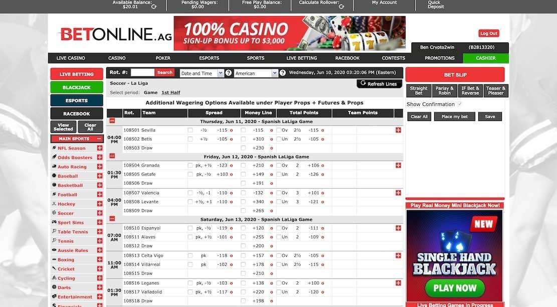Página principal de apuestas deportivas de Betonline que muestra la promoción de 3000$ para el depósito y todos los deportes en los que se puede apostar con betonline